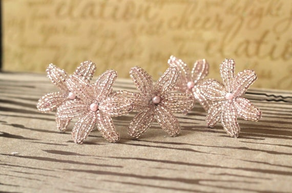 Pixie Dust  - U-Pins or Bobby Pins - French Beaded Flower