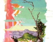 Psychedelic Landscape with Tree - 9x12 Giclee Print of Original Gouache Painting