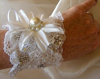 Garden Wedding Flowers and Lace Cuff