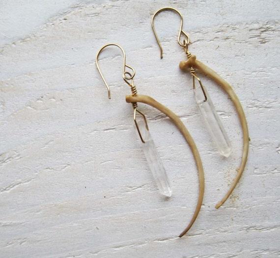 Snake Bone and Quartz Earrings on Gold