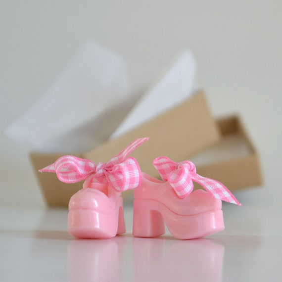 Bubble Gum Pink Mary Janes Custom Shoes for Blythe Doll