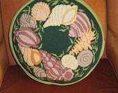 Vintage Needlepoint Shell Design Pillow Round