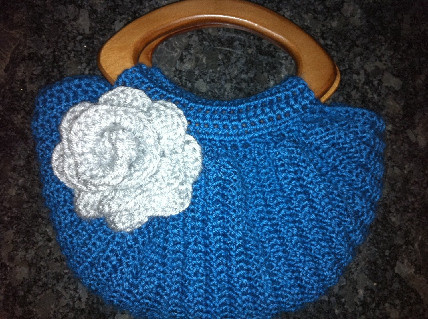 Crochet Blue Fat Bottom Bag with Wooden by StargazunDesigns
