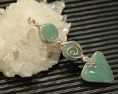 Green Adventurine Gemstone, Sterling silver handmade pendant, birthday gift, gift to her