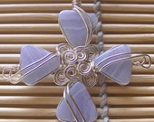 Blue Lace Agate ... Silver Wire Pendant ... cross collection