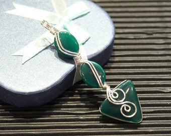Beautiful green agate pendant, sterling silver handwrapped pendant, birthday gift, gift to her
