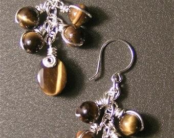 Golden Tigers Eye ... Silver Wire Earrings