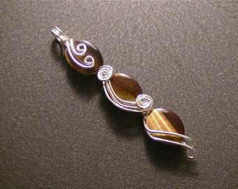Golden Tigers Eye ... Swirls in Sterling Silver Wire Pendant