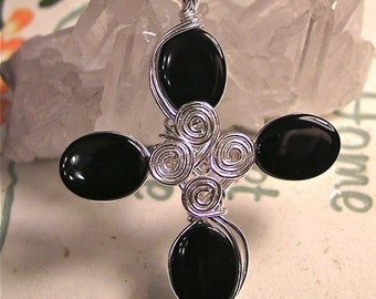 Black Onyx ... Silver Wire Pendant ... cross collection