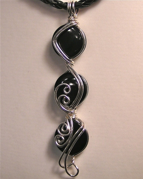 Black Onyx ... Swirls in Sterling Silver Wire Pendant