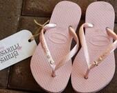 Kids Swarovski Crystal Bling Light Rose Slim Havaianas Flip Flops - Rian