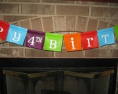 Reusable Birthday Banner Custom Painted on Canvas
