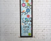 Custom Growth Chart Canvas Bright Birds Flowers