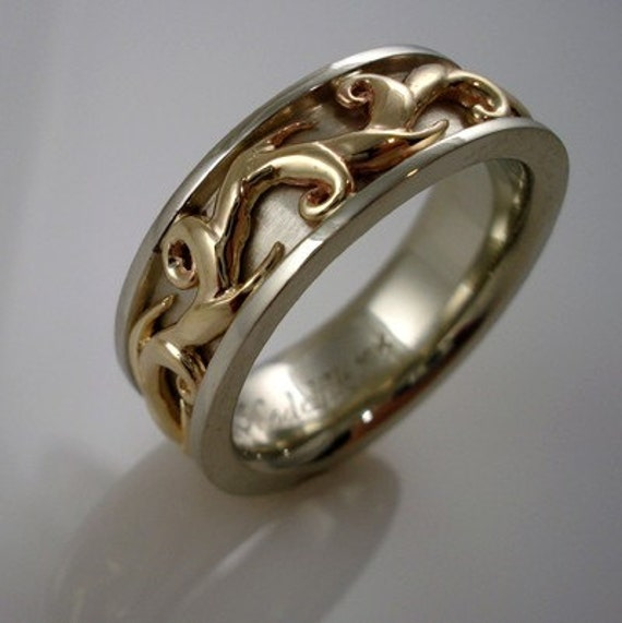 Elven Collection - Yellow and white gold ring 02