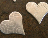 Sterling Silver Design Hearts(Six Total)