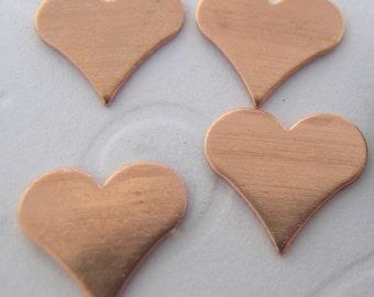 Copper Heart Disc 3/8 inch(4 hearts)(22 gauge)