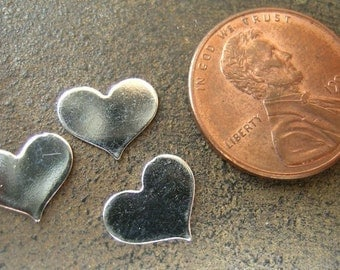 Small/Tiny Sterling Silver Heart Stamping  7mm x 5 mm