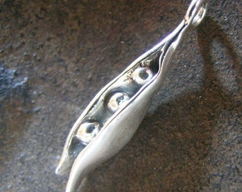 Sale - Sterling Silver Peapod Drop Charm(one)