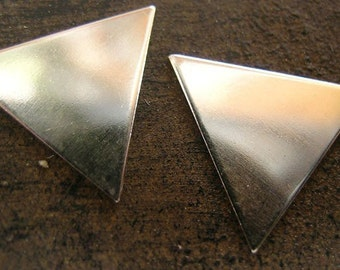 Sterling Silver triangles - 12mm, 15mm, and 19mm(one pair)Plain or Hammered