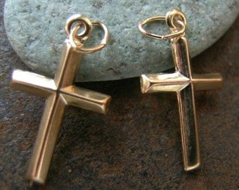 Gold Filled Charm Puff Cross(one Pair)