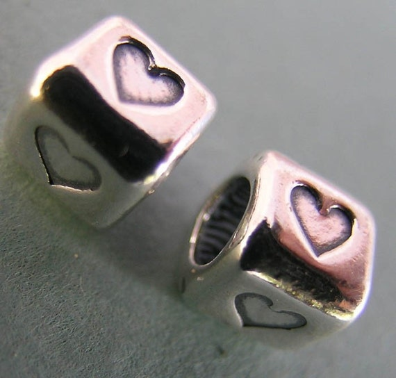 Sterling Silver Cube Heart Beads(two beads)