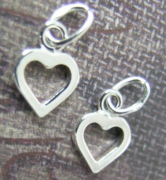 Sterling Silver Tiny Open Heart Charms(4 hearts) or (6 hearts)