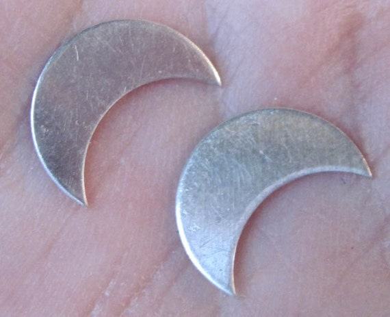 "Sterling Silver Moon Stampings(1/2"", 1"" or 1-1/4"" size)(24 or 22 gauge)"