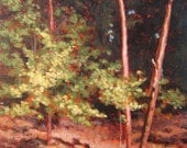 Original landscape painting with trees Lakeside