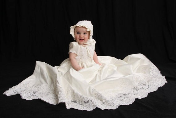 Oriana Christening gown set with , bonnet,booties,bib,blanket , bloomers and custom monogram in stock ivory 3/6m or 9/12m