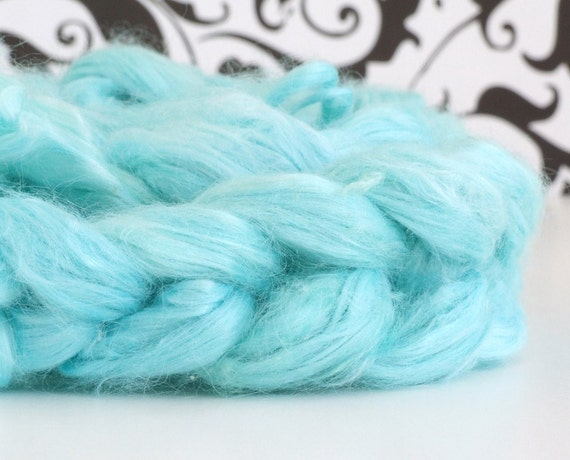 Sale - Sky  - 1.0 hand dyed banana roving for spinning and carding, vegan