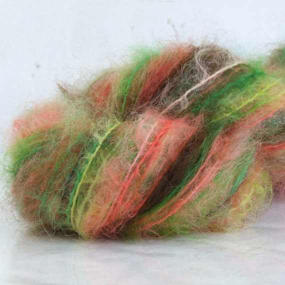 RESERVED -Hand Painted Brushed Mohair Yarn - Fiona - 100 yds