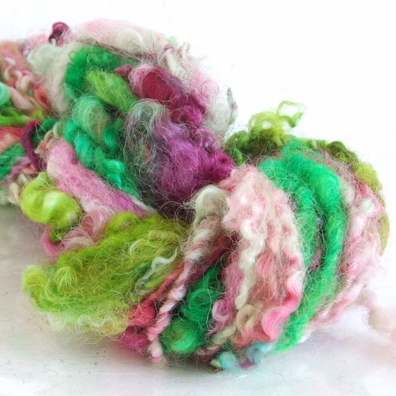 Handspun Yarn - Garden Greens  - BFL Locks