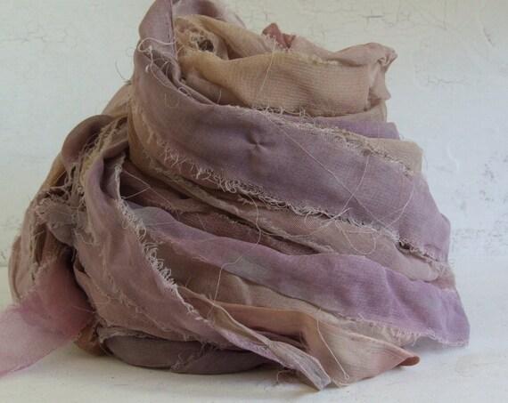 Hand Dyed Recycled Silk Chiffon Ribbon - Mixed Purples, 10 yds