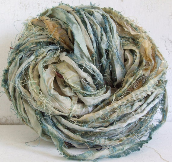 Hand Dyed Recycled Sari Silk Ribbon - Pale Blue, 10 yds