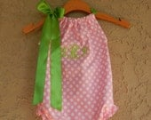 Monogrammed Pink Dot Pillowcase Bubble Romper - sizes 3m - 24m....PERFECT for SPRING and SUMMER