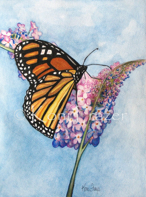 ORIGINAL watercolor painting Butterfly Beauty