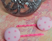 Polka Dot Button Hair Bobby Pins