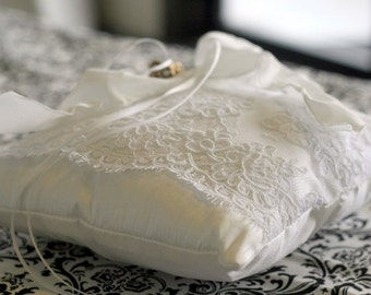 Alencon Lace and Silk Ring Bearer Pillow