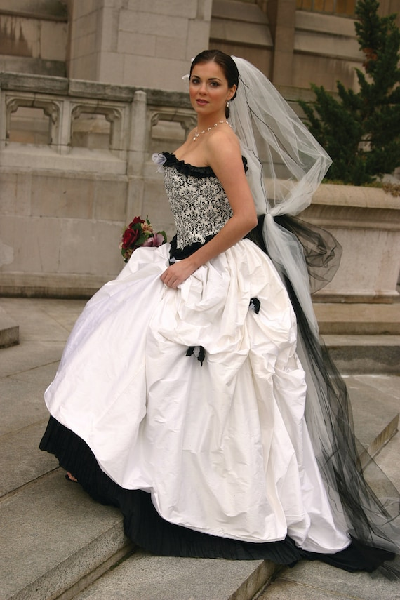 Items similar to black and white wedding dress corset for Wedding dress on etsy