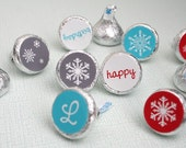 SNOWFLAKE PARTY - Printable Birthday Candy Stickers - Aqua and Red - Kiss Labels - DIY Snowflake Collection