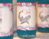 BIRTHDAY - Printable Drink Wraps - Water Bottle Labels - Hot Pink and Turquoise - Shark - DIY Bite Me Collection - by Make Life Cute