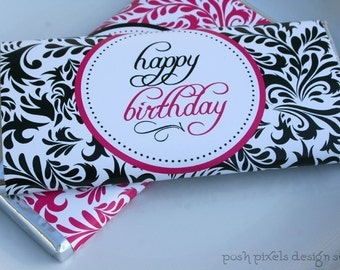 PRINTABLE Candy Bar Wrappers - Happy Birthday - Black, White and Pink - Damask Collection - Make Life Cute at Posh Pixels Design Studio