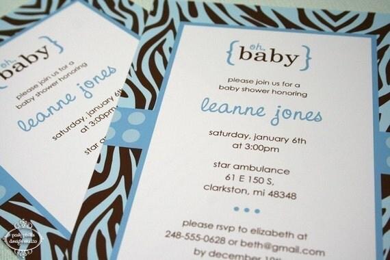 "ZEBRA BABY - Printable 5""x7"" Invitation Design - Baby Shower - DIY Zebra Baby Collection - by Make Life Cute"