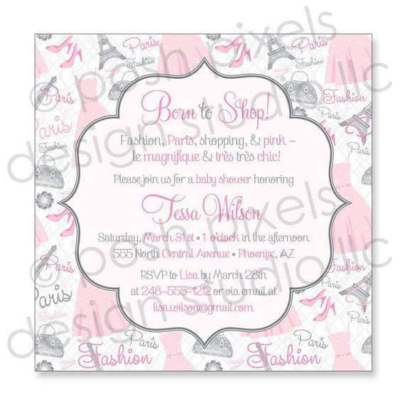 "BABY INVITATION - Printable 5""x5"" Invitation Design - Baby Shower - DIY Paris Baby Collection - by Make Life Cute"