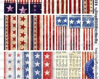 Digital Microscope Slides 1x3 Inch Sheet - Vintage Inspired American Flag Designs