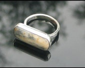Moss Feldspar Ring Handmade Silver