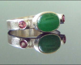 Green Jade and Pink Tourmaline ring Handmade Silver Ring Candy Apple green