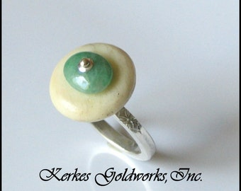 Jade and Recycled Ivory Bead Ring Silver Handmade