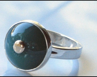 Green Quartz Ring Carved Handmade Silver and Gold