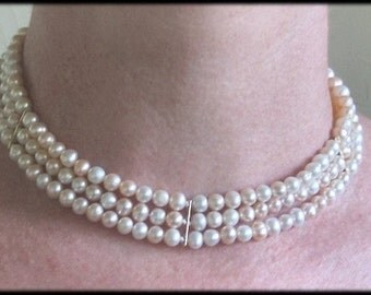 Pearl Necklace Triple Strand Choker White and Peach Gold Clasp and Spacers Handmade